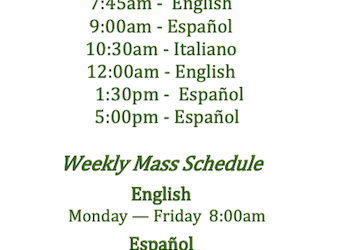 New Mass schedule starting September 26, 2021/Nuevo horario de Misas a partir del 26 de Septiembre, 2021